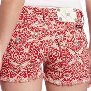 Miss Me Red Poppy Cargo Frayed Shorts CP4021H2
